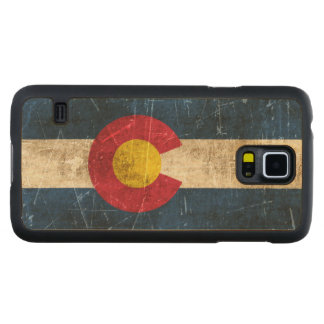 Vintage Aged and Scratched Flag of Colorado Carved® Maple Galaxy S5 Case