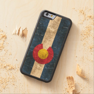 Vintage Aged and Scratched Flag of Colorado Carved® Maple iPhone 6 Bumper