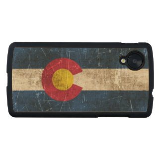 Vintage Aged and Scratched Flag of Colorado Carved® Maple Nexus 5 Slim Case