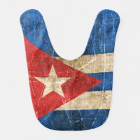 Vintage Aged and Scratched Flag of Cuba Bib