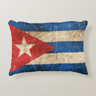 Vintage Aged and Scratched Flag of Cuba Decorative Pillow