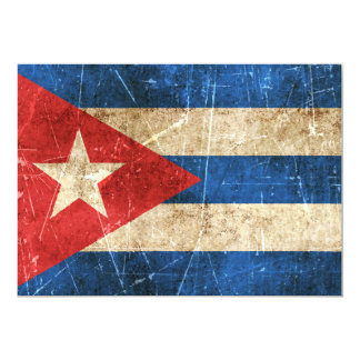 Vintage Aged and Scratched Flag of Cuba Announcement