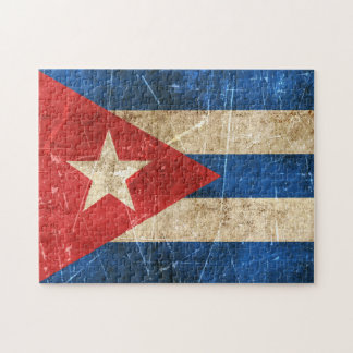 Vintage Aged and Scratched Flag of Cuba Puzzles