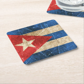 Vintage Aged and Scratched Flag of Cuba Square Paper Coaster