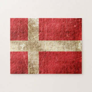 Vintage Aged and Scratched Flag of Denmark Puzzles