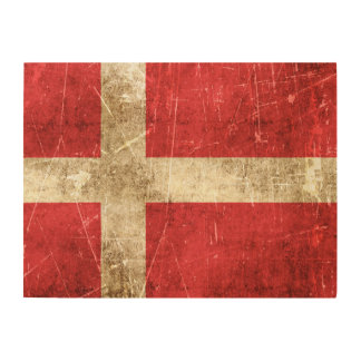 Vintage Aged and Scratched Flag of Denmark Wood Wall Art