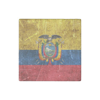 Vintage Aged and Scratched Flag of Ecuador Stone Magnet