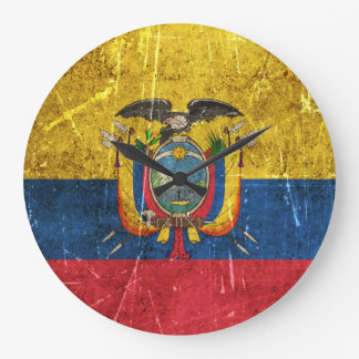 Vintage Aged and Scratched Flag of Ecuador Large Clock