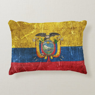 Vintage Aged and Scratched Flag of Ecuador Accent Pillow