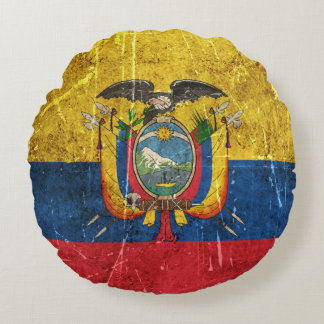 Vintage Aged and Scratched Flag of Ecuador Round Pillow