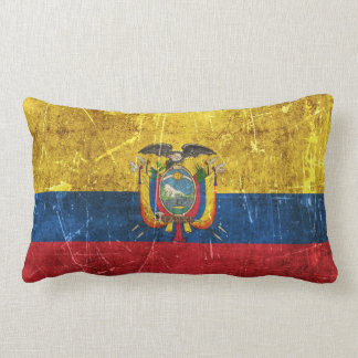 Vintage Aged and Scratched Flag of Ecuador Throw Pillows