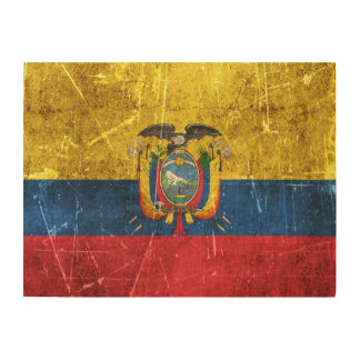 Vintage Aged and Scratched Flag of Ecuador Wood Wall Art