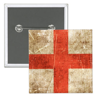 Vintage Aged and Scratched Flag of England Pinback Button