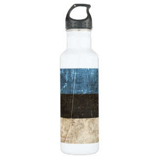 Vintage Aged and Scratched Flag of Estonia Water Bottle