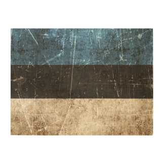 Vintage Aged and Scratched Flag of Estonia Wood Wall Art