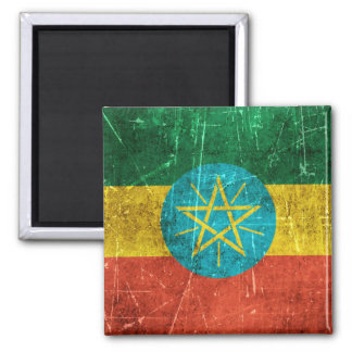 Vintage Aged and Scratched Flag of Ethiopia Refrigerator Magnets