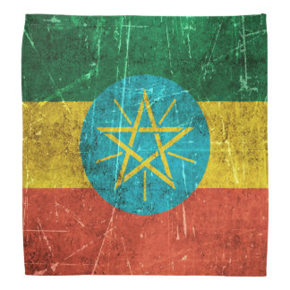 Vintage Aged and Scratched Flag of Ethiopia Bandana