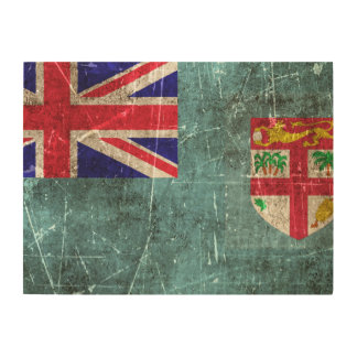 Vintage Aged and Scratched Flag of Fiji Wood Wall Art