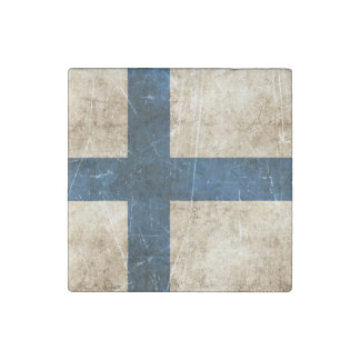 Vintage Aged and Scratched Flag of Finland Stone Magnet