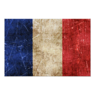 Vintage Aged and Scratched Flag of France Print