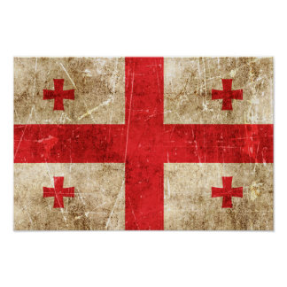 Vintage Aged and Scratched Flag of Georgia Print