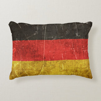 Vintage Aged and Scratched Flag of Germany Decorative Pillow