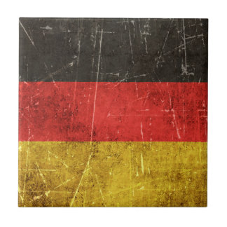 Vintage Aged and Scratched Flag of Germany Tile
