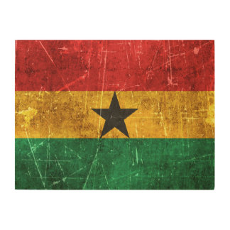 Vintage Aged and Scratched Flag of Ghana Wood Wall Art