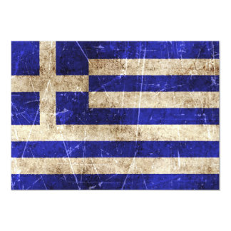 Vintage Aged and Scratched Flag of Greece Personalized Announcement