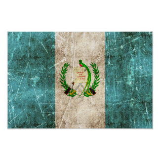 Vintage Aged and Scratched Flag of Guatemala Posters