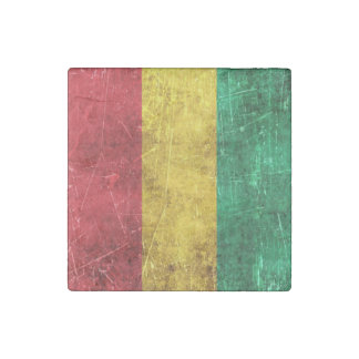 Vintage Aged and Scratched Flag of Guinea Stone Magnet