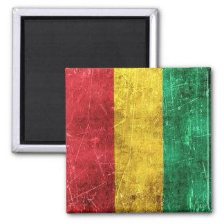 Vintage Aged and Scratched Flag of Guinea Refrigerator Magnet