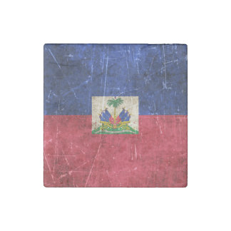 Vintage Aged and Scratched Flag of Haiti Stone Magnet