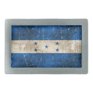 Vintage Aged and Scratched Flag of Honduras Rectangular Belt Buckles