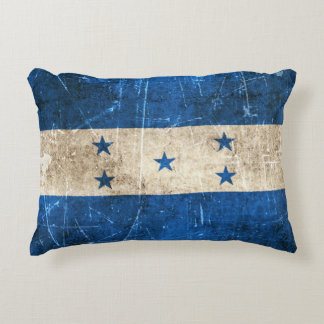 Vintage Aged and Scratched Flag of Honduras Accent Pillow
