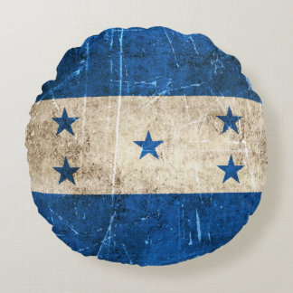 Vintage Aged and Scratched Flag of Honduras Round Pillow