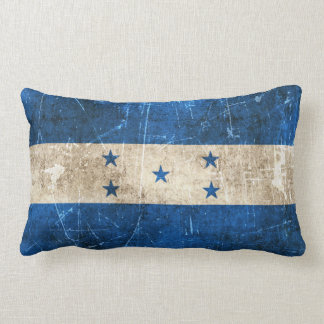 Vintage Aged and Scratched Flag of Honduras Throw Pillow