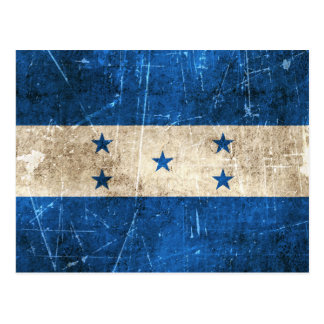 Vintage Aged and Scratched Flag of Honduras Postcard