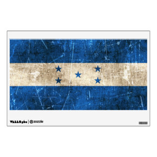 Vintage Aged and Scratched Flag of Honduras Room Decals
