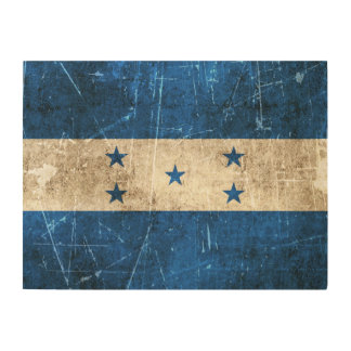 Vintage Aged and Scratched Flag of Honduras Wood Prints