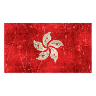 Vintage Aged and Scratched Flag of Hong Kong Business Card Template