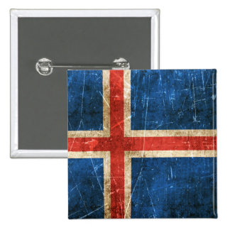 Vintage Aged and Scratched Flag of Iceland Pinback Button