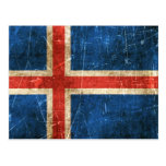 Vintage Aged and Scratched Flag of Iceland Postcard