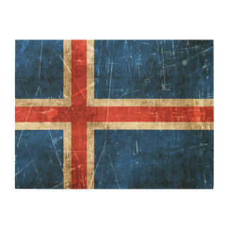 Vintage Aged and Scratched Flag of Iceland Wood Wall Art
