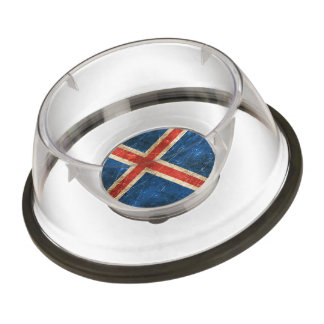 Vintage Aged and Scratched Flag of Iceland Pet Bowl