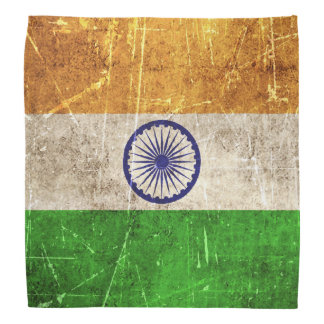Vintage Aged and Scratched Flag of India Bandanas