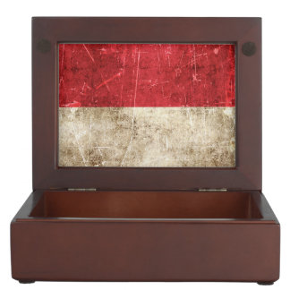 Vintage Aged and Scratched Flag of Indonesia Memory Box