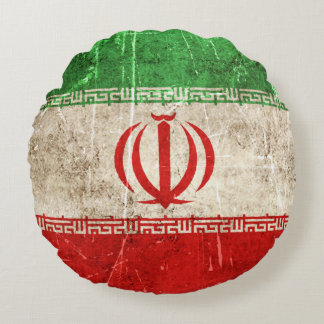 Vintage Aged and Scratched Flag of Iran Round Pillow