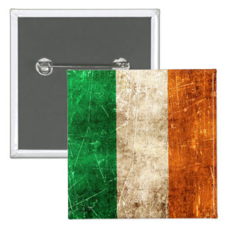 Vintage Aged and Scratched Flag of Ireland Pinback Button