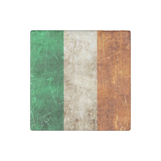 Vintage Aged and Scratched Flag of Ireland Stone Magnet